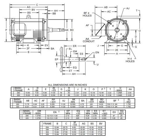 DJ40P2DM US Motors 40 hp 1800 RPM  3-phase 324JM Frame 208-230/460V (ODP) Close-Coupled Pump Motor