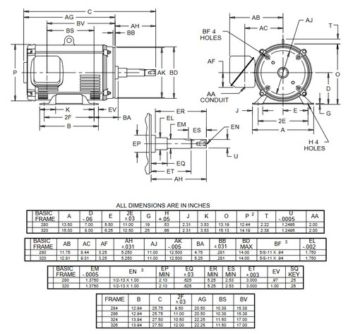 DJ50P1DM US Motors 50 hp 3600 RPM 3-phase 324JM Frame 208-230/460V (ODP) Close-Coupled Pump Motor