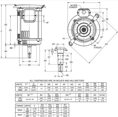DJ5P2DU US Motors 5 hp 1800 RPM  3-phase 184JM Footless 208-230/460V (ODP) Close-Coupled Pump Motor