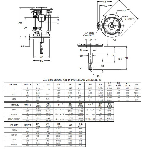 DJ15P1DU US Motors 15 hp 3600 RPM  3-phase 215JM Footless 208-230/460V (ODP) Close-Coupled Pump Motor