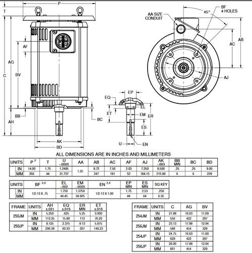 DJ15P2EU US Motors 15 hp 1800 RPM  3-phase 254JM Footless 230/460V (ODP) Close-Coupled Pump Motor