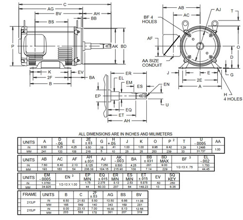 DJ7P2DP US Motors 7 1/2 hp 1800 RPM 3-phase 213JP 208-230/460V (ODP) Close-Coupled Pump Motor