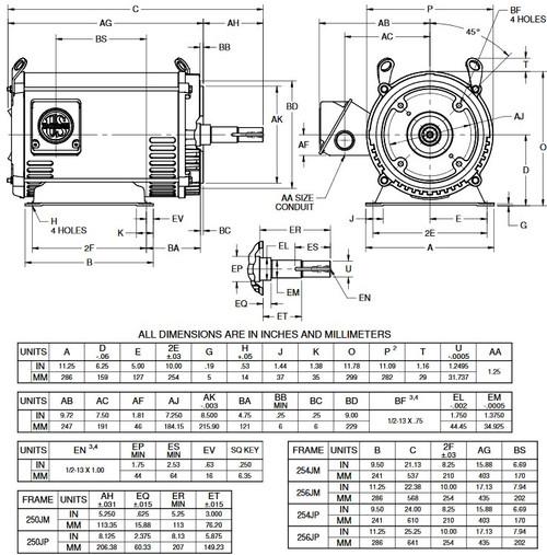 DJ7P3EP US Motors 7 1/2 hp 1800 RPM 3-phase 254JP 230/460V (ODP) Close-Coupled Pump Motor
