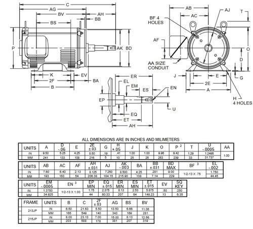 DJ10P1DP US Motors 10 hp 3600 RPM 3-phase 213JP 208-230/460V (ODP) Close-Coupled Pump Motor