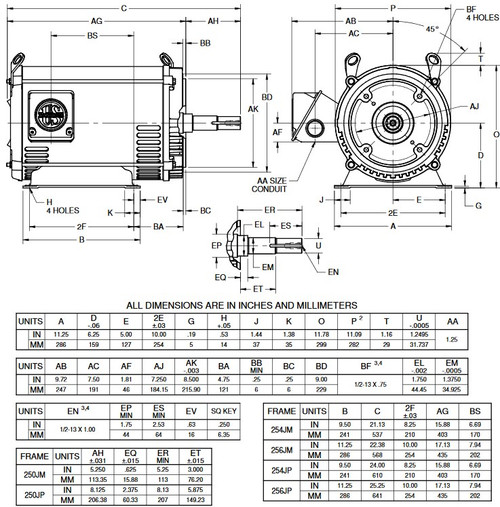 DJ15P2EP US Motors 15 hp 1800 RPM 3-phase 254JP 230/460V (ODP) Close-Coupled Pump Motor