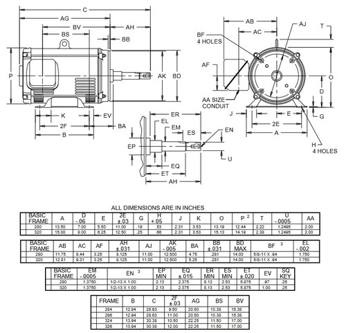 DJ30P2DP US Motors 30 hp 1800 RPM 3-phase 286JP 208-230/460V (ODP) Close-Coupled Pump Motor