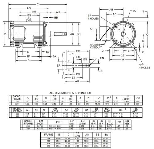 DJ50P2DP US Motors 50 hp 1800 RPM 3-phase 326JP 208-230/460V (ODP) Close-Coupled Pump Motor