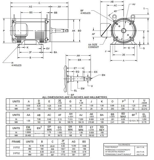 DJ7P2DJ US Motors 7 1/2 hp 1800 RPM (ODP) 3-phase 213TCZ Frame 208-230/460V Close-Coupled Pump Motor