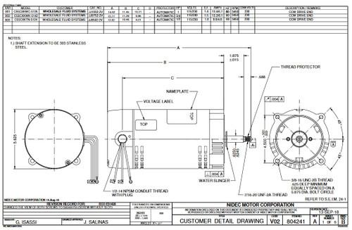JJ1002-2V US Motors 1 hp 3450 RPM ODP 56J 115/230V Jet (Non-Pool) Pump Motor