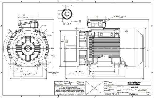 R843 Marathon | 30HP 22 kW 230/460V 1800 RPM 3-Phase 180LD Frame TEFC (rigid base) Motor