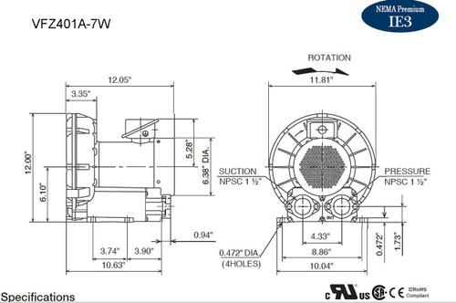 VFZ401A-7W Fuji Regenerative Blower 1.4 hp, 208-230/460 Volts
