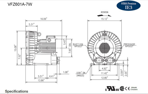 VFZ601A-7W Fuji Regenerative Blower 5 hp, 208-230/460 Volts
