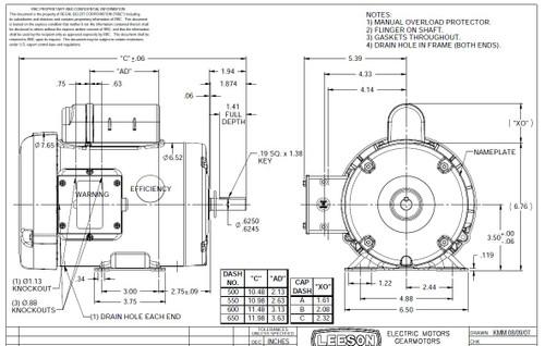1/3 hp 1725 RPM 56 Frame TEFC (Farm Duty) 115/208-230