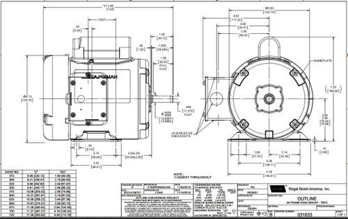 1/3 hp 1140 RPM 48 Frame TEFC 115/208-230 Volts Leeson