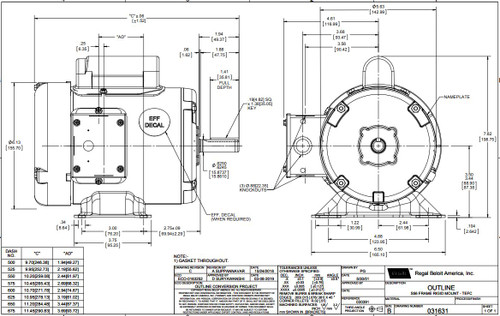 1/2 hp 1725 RPM 56 Frame TEFC 115/208-230 Volts Leeson