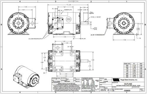 1 hp 1140 RPM 145T Frame 208-230/460 Volts Open Drip