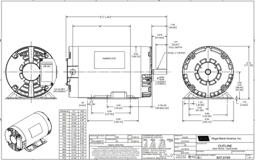 2 hp 1725 RPM 56H Frame 230/460 Volts Open Drip Leeson