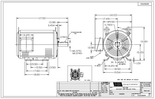 5 hp 1200 RPM 215T Frame 230/460V Open Drip Marathon
