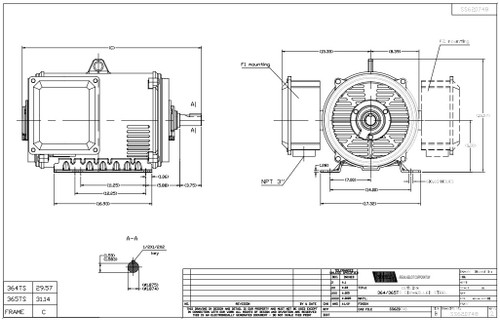 100 hp 3600 RPM 365TS Frame 230/460V Open Drip Marathon