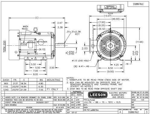 10 hp 3600 RPM 215T Frame 208-230/460 Volts TEFC Leeson