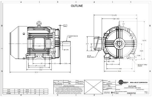 10 hp 3600 RPM 215T Frame 230/460V TEFC Marathon Electric