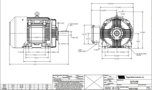 30 hp 1200 RPM 326T Frame 230/460V TEFC Marathon Electric