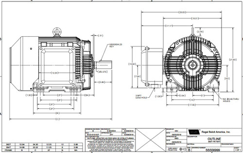 60 hp 1800 RPM 364T Frame 230/460V TEFC Marathon Electric