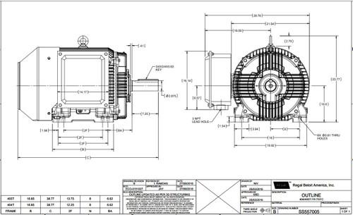 100 hp 1800 RPM 405T Frame 230/460V TEFC Marathon Electric