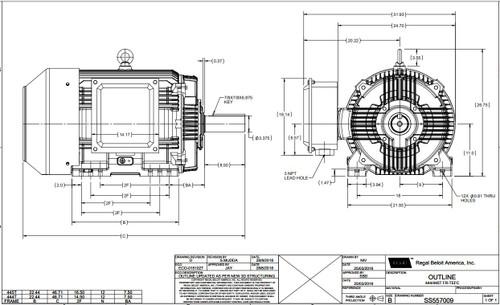 125 hp 1800 RPM 444T Frame 460V TEFC Marathon Electric