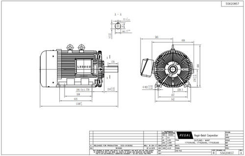 250 hp 1800 RPM 449T Frame 460V TEFC Leeson Electric Motor
