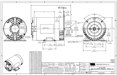 1.5 hp 1800 RPM 56C Frame ODP C-Face (rigid Base) 230/460V