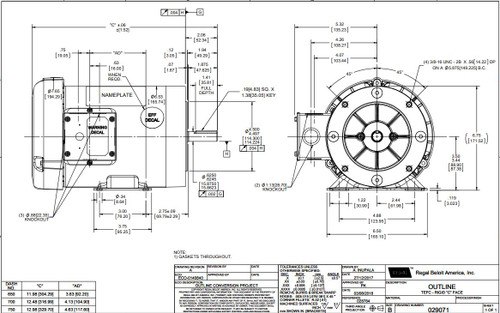 1 hp 1800 RPM 56C Frame TEFC C-Face (Rigid Base) 230/460V