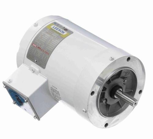 1 hp 3600 RPM 56C Frame TENV (no base) C-Face 230/460V Wash Down Duty Leeson Electric Motor # 113023