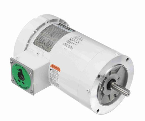 1.5 hp 1800 RPM 145TC Frame TEFC (no base) C-Face 208/230-460V Wash Down Duty Leeson Electric Motor # 122180