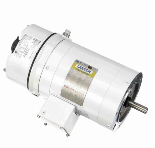 1/2 hp 1800 RPM 56C TENV Washdown Duty Brake Motor no Base 208-230/460V Leeson # 116463
