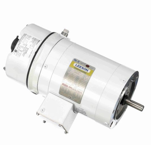 116463.00 Leeson |  1/2 hp 1800 RPM 56C TENV Washdown Duty Brake Motor no Base 208-230/460V