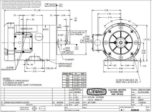 3/4 hp 3600 RPM 56J Frame TEFC C-Face (Rigid Base) 208-230