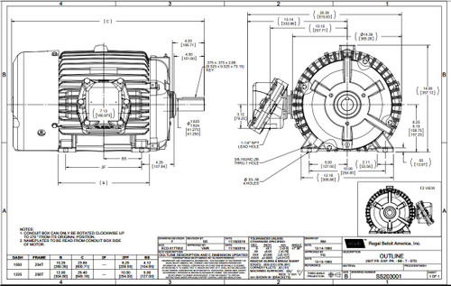 15 hp 3600 RPM 254T 230/460V TEFC Explosion Proof Marathon