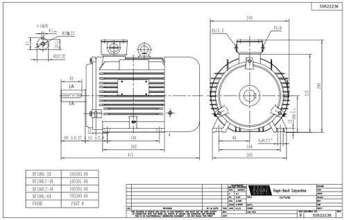 3 hp 2.2 kw 1800 RPM 100L Frame 230/460V Marathon Electric