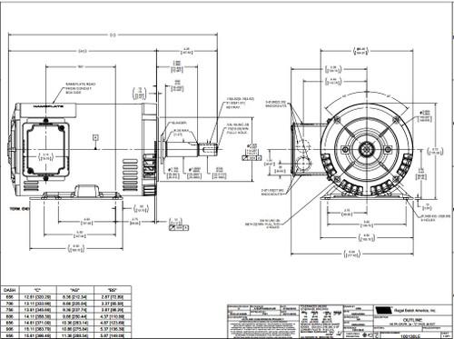 1.5 hp 1740 RPM 145JM Frame ODP 208-230/460V Leeson Electric Motor # 122076