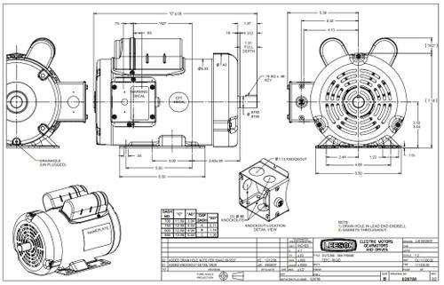 1.5 hp 1725 RPM 56HZ Frame 115/208-230V Leeson Grain