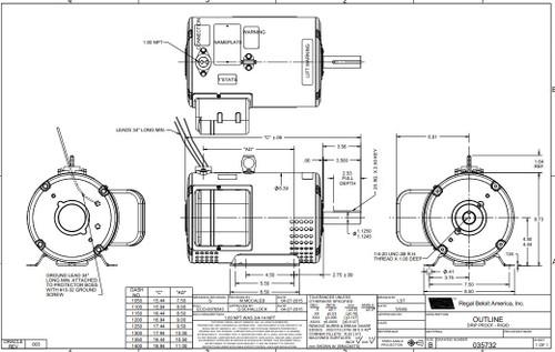 5-7 hp 3450 RPM 182TZ 230V Crop Dryer Motor Leeson # 131847