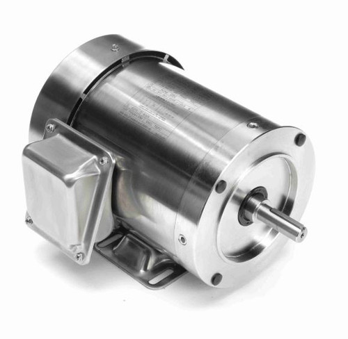 1 hp 3600 RPM 56HC Frame TEFC 208-230/460V Stainless Steel Leeson Electric Motor # 191209