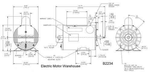 3 hp 3450/1725 RPM 56Y Frame 230V 2-Speed Pool & Spa