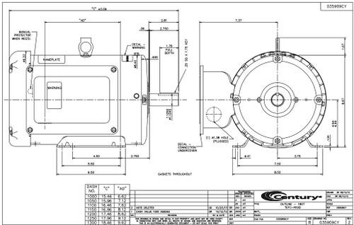 3 hp 1800 RPM 184T Frame (Farm Duty) 230V Century Electric