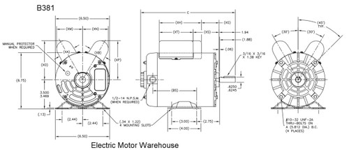 2 HP SPL 3450 RPM M56 Frame 115/230V Air Compressor Motor - Century J Motor Wiring Diagram Century on