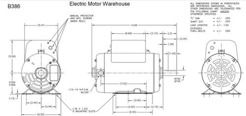 5 HP SPL 3450 RPM R56HZ Frame 208-230V Air Compressor Motor ... B Century Ac Motor Wiring Diagram on