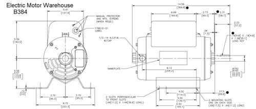 5 Hp 3450 Rpm R56y Frame 208 230v Air Compressor Motor