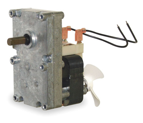 "Pellet Stove Auger Gear Motor 3/8"" Shaft With Cooling Fan 1 RPM, 115V Dayton # 1LNG2"
