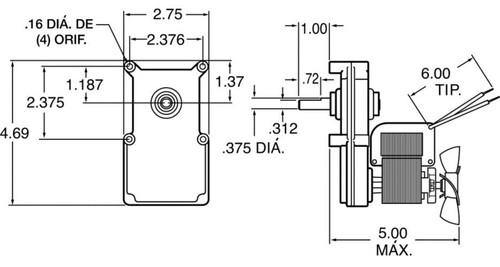 Dayton Model 1L461 Gear Motor 21 RPM 1/60 hp 220-240V with